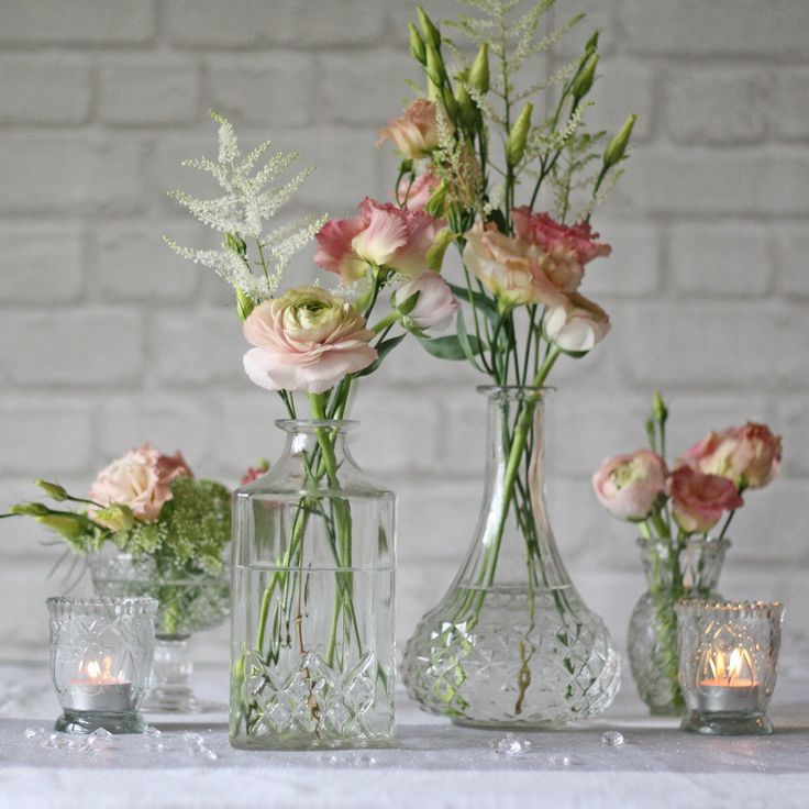 Pressed Glass Decanter Wedding Centrepiece Vase