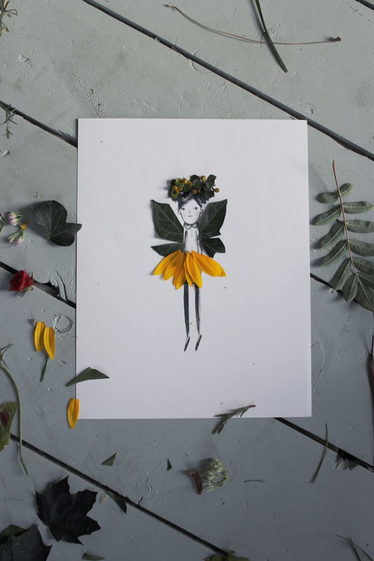 Decorate Your Own Nature Paper Dolls with flowers and leaves//