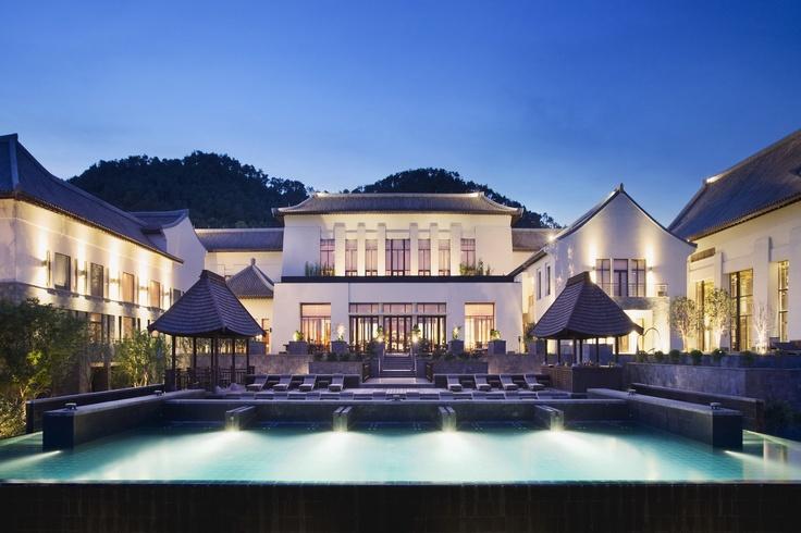 The beautiful swimming pool at the Park Hyatt Ningbo Resort  Spa overlooks the Don Qian Lake.