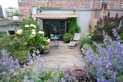 New York roof garden with hydrangea arrangment.