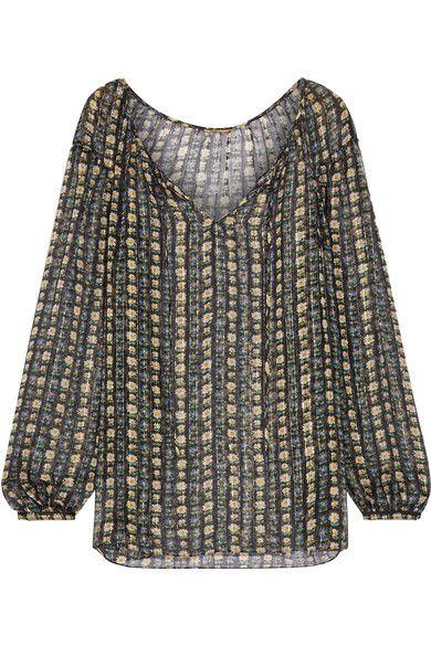 Saint Laurent - Metallic Striped Floral-print Silk-chiffon Blouse - Black - FR34
