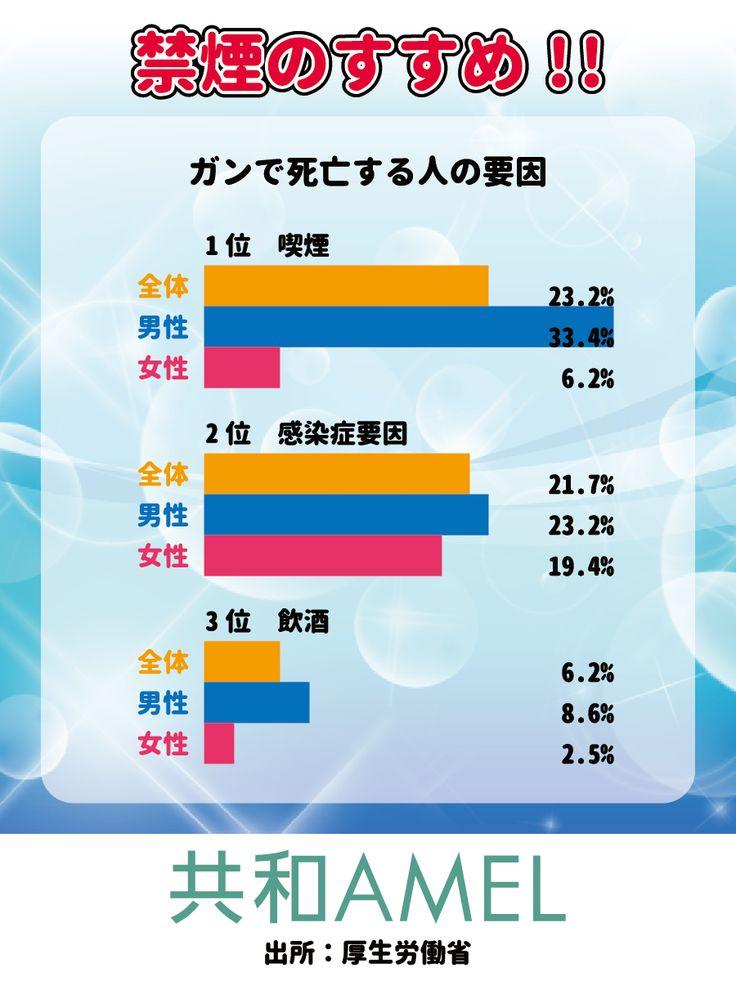 ☆共和AMEL禁煙のすすめ☆  「タバコをなかなかやめられない…。」 と考えている人に見ていただきたいデータがあります! 前回、日本人の死因No.1はガン(悪性新生物)とお伝えしましたが、その原因となるのは喫煙23.2%(男性34.4%、女性6.2%)、感染症要因21.7%、飲酒6.2%、これらの要因で50%を超えます。 これは、タバコをやめればあらゆるガンに対するリスクを少なからず抑制できるということを示しています。  ご自身のために、ご家族のためにも「禁煙」を決断されることをお勧めいたします。  #禁煙 #健康  [共和薬品工業URL] http://www.kyowayakuhin.co.jp/