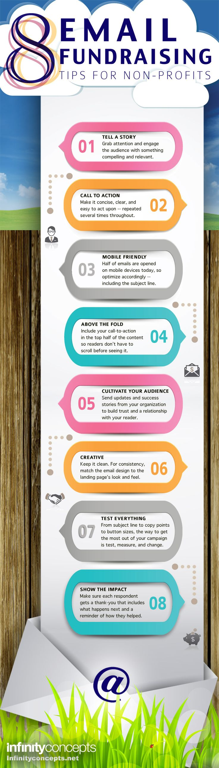 "8 EMAIL FUNDRAISING TIPS - #Infographic by Tom Perrault - 1) Tell a story 2) Call to action 3) Mobile friendly and 8) Show the impact - Thank each respondent and remind them of how they helped."" Pins for Non-profit Development: https://www.pinterest.com/addfreesources/nonprofit-development/"