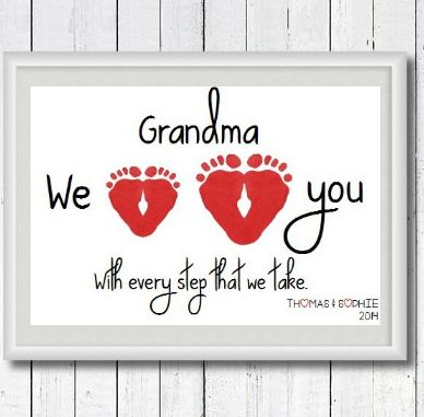 A 60th Birthday Gift For Mom Personalized Grandma We Love You With Every Step Take Footprint Art Print By Perfect Little Prints