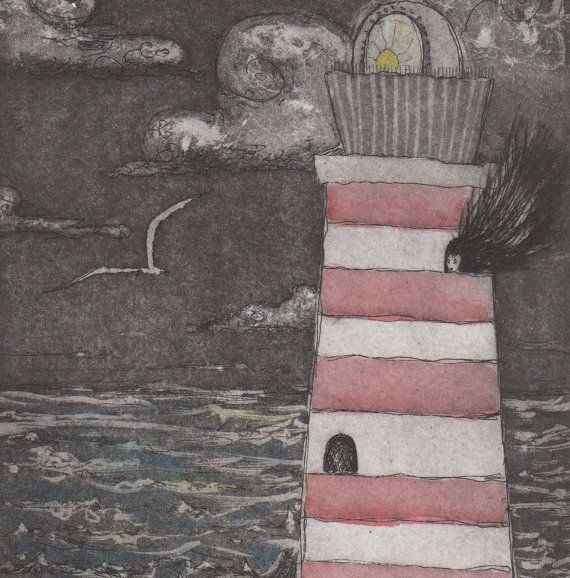 Lighthouse Keeper Gorgeous Limited Edition Etching Hand Colored With Poem OOAK