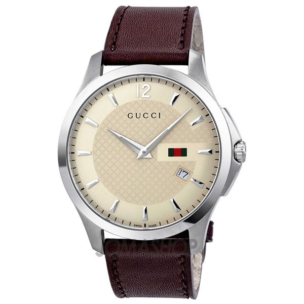 gucci g timeless ivory brown leather mens