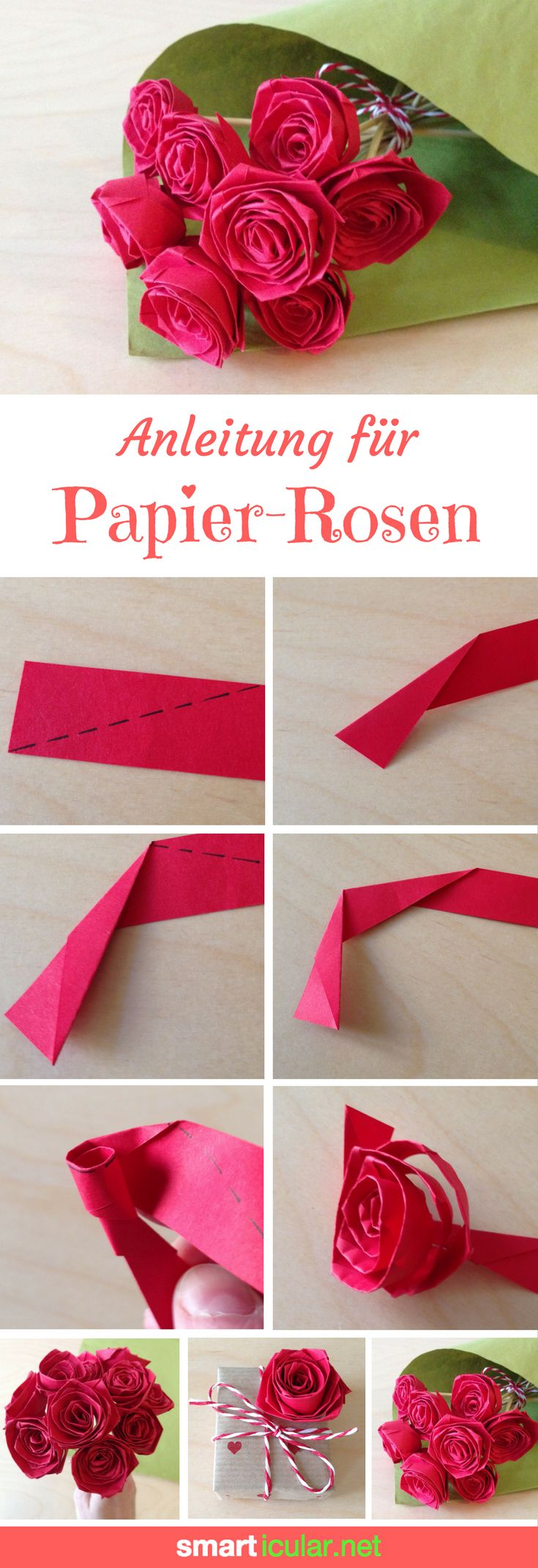Simply fold roses out of paper – sustainable and long-lasting