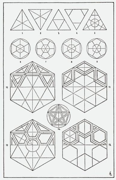 "Sacred Geometry [from ""A Handbook of Ornament"" 1920 free PDF from archive.org]"