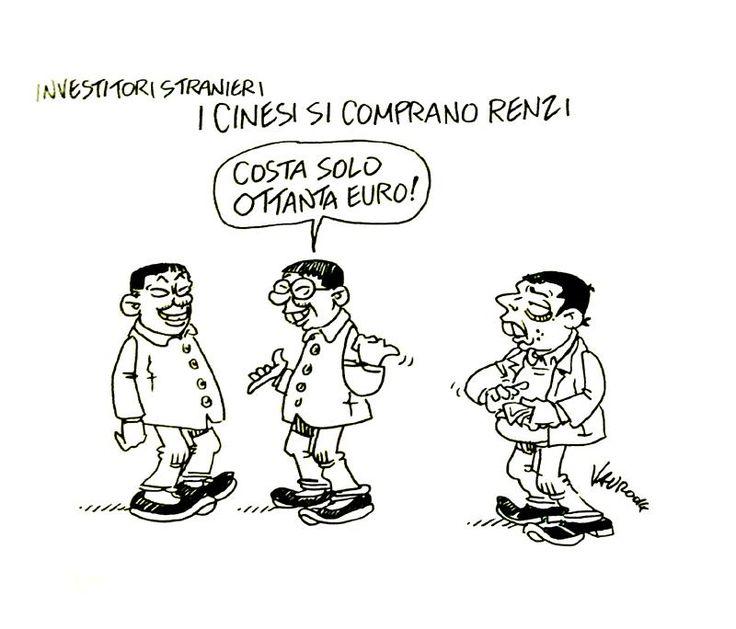 I CINESI COMPRANO #RENZI !  Tutte le mie nuove vignette per #ServizioPubblico VIDEO ->http://bit.ly/vauroSP