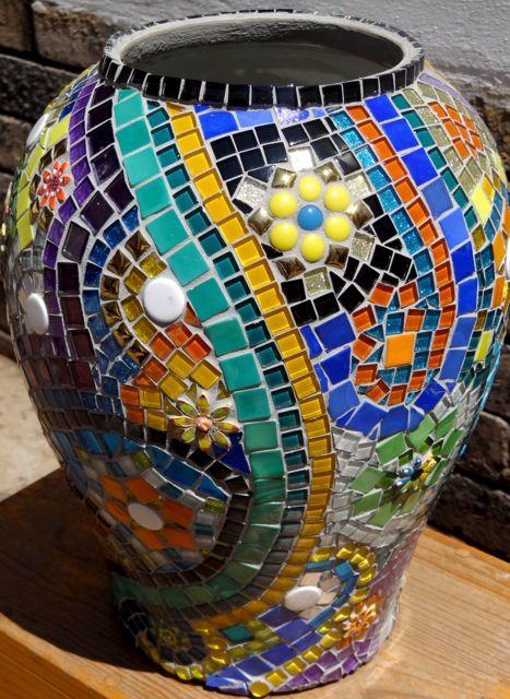 Scheherazade glass & ceramic tile pot. R1,200.00