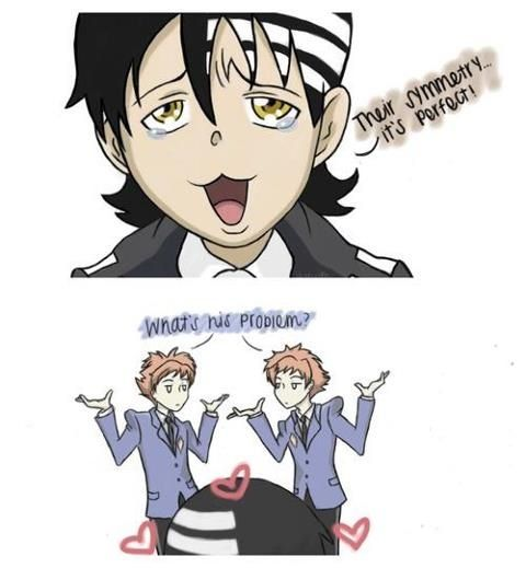 hikaru, karu Ouran High School Host Club, death the kid: soul eater... Who ever came up with this, is sincerely... AWESOME!!!!!!! XD