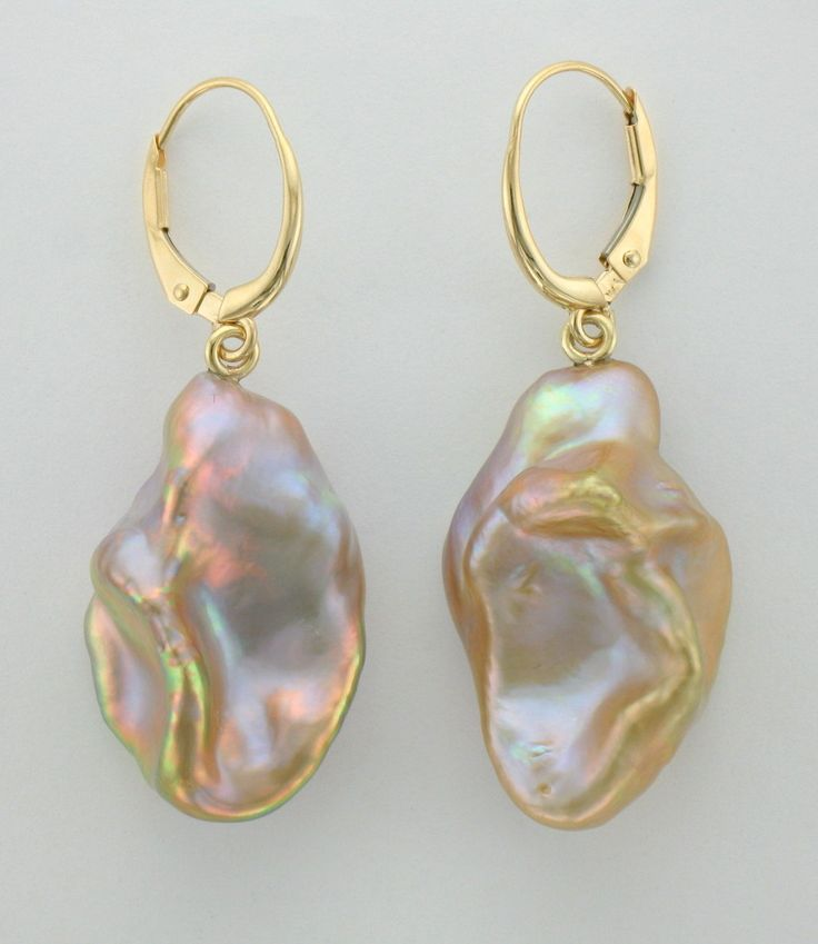 Micky Roof custom 14K Yellow Gold Baroque Khaki Pearl dangle earrings