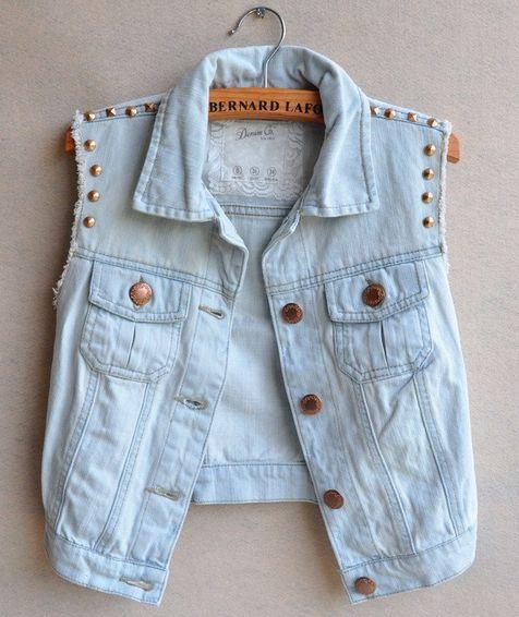 Light blue jean vest