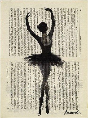 ballerina - ink drawing illustration buy prints on etsy