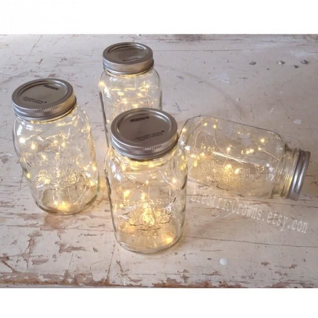 **mason jars NOT included**DIY! Do it yourself project. Add these battery fairy lights to your mason jars! Perfect for your fall wedding decor or vintage wedding. Make your own mason jar light. Gorgeous wedding lighting for indoor and outdoor use.Pretty starry lights that fit perfectly inside a mason jar. Everyone loves firefly lights!  Battery pack hides away completely too! Perfect rustic wedding decor for glowing centrepieces at weddings, parties, showers