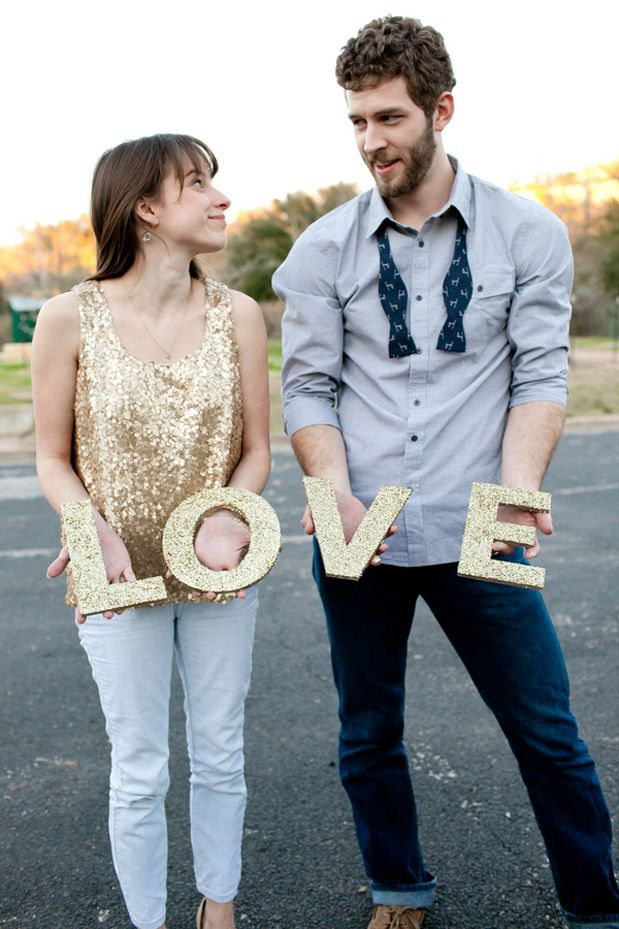 Again - glitter letters are so cute!  Especially if we are having a gold themed wedding...Glitter DIY Engagement