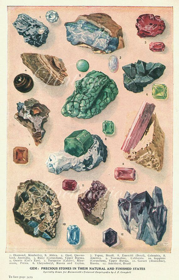 Vintage 1930s minerals crystals rocks print antique gems for Mineral wall
