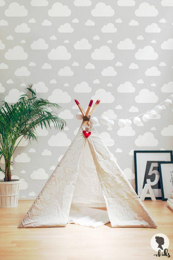 Joli nuage blanc modèle amovible Wallpaper, peler, coller, aimez-le ! :)   — — Quel matériau de fond d'écran devriez vous choisir? — —   -FOND D'ÉCRAN AUTO ADHÉSIF EN TISSU-  * Papier peint Textile mat * PVC gratuit * Lavable * Amovible * Feu résistant - B1/M1 feu cote * Facile à installer et à enlever * Auto-adhésif - ne nécessite aucune colle supplémentaire, pâte ou eau * Nendommage pas la surface lorsque supprimé * Imprimé avec des encres éco-solvant de haute qualité * Il est conseillé…