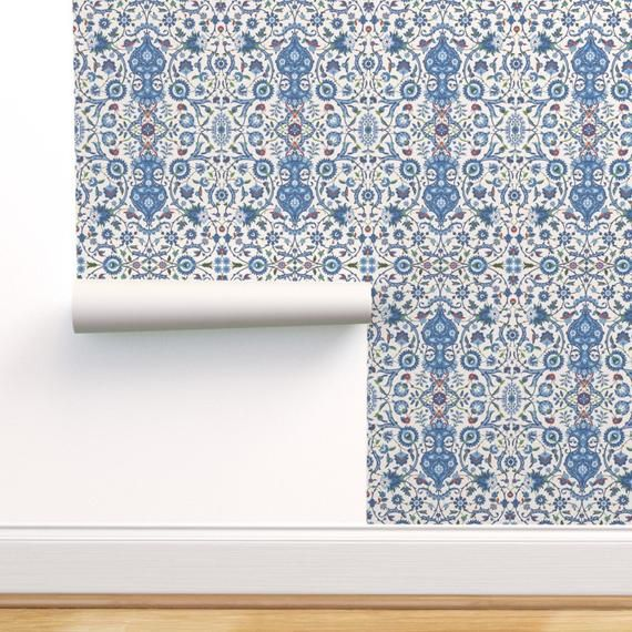 Indian Wallpaper Bisaṭ 694b By Muhlenkott Indian Blue Etsy Self Adhesive Wallpaper Custom Wall Stickers Wallpaper Roll