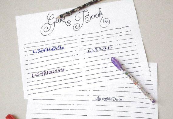 guest book blank lines wedding printable baby di LaSoffittaDiSte