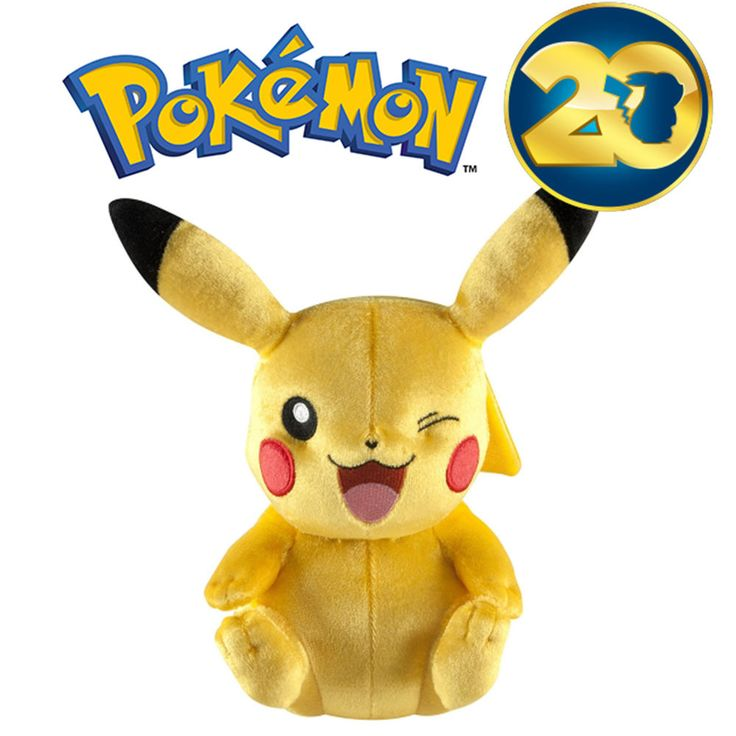 Pokemon 20th Anniversary WINKING PIKACHU LIMITED EDITION Plush 8  *IN HAND UK*