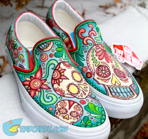 Our latest pair of custom designs Vans. Get your own pair here: http://www.radcakes.com/shop/category/art/  Tags: Skulls, Custom Vans, Custom Slip On Vans, Sneakers, Mexican Art, Candy Skulls.