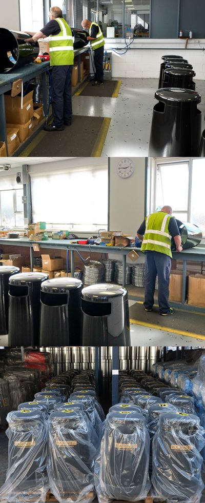 The Topsy 2000™ litter bin in production, purpose-designed for easy emptying without the need for strenuous lifting. The whole bin body lifts off the base the liner then requires only a short lift.