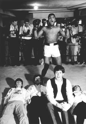 Ali and Beatles.   i remember this pic....it is one of THE Beatle cards that we all collected.. ha ah ha