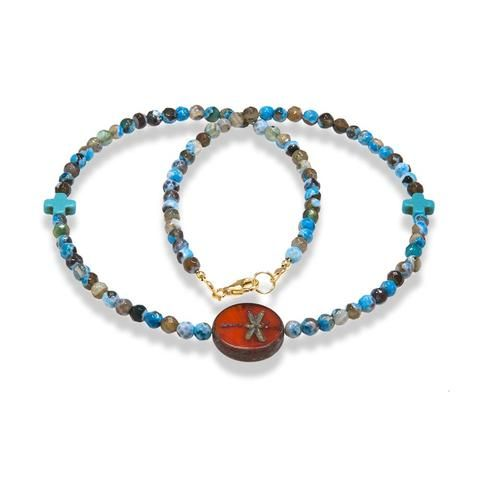 Handmade Gemstone Necklace Multicolor Agate Brown Sky - Anthos Crafts - 1