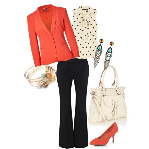 work-black pant, salmon jacket, polka dot sleeveless blouse, white bag