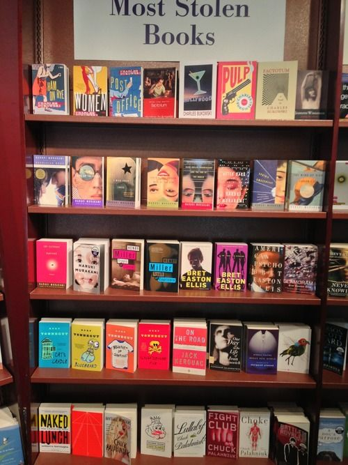 "Most Stolen Books display at a Chapters Book Store - Would be fun to have a ""most frequently overdue books""display"