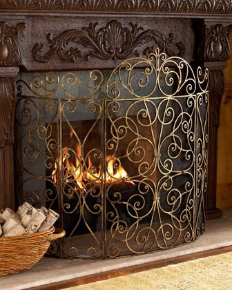 """I really like this fire screen, it curves-""""Claudette"""" Fireplace Screen at Horchow."""