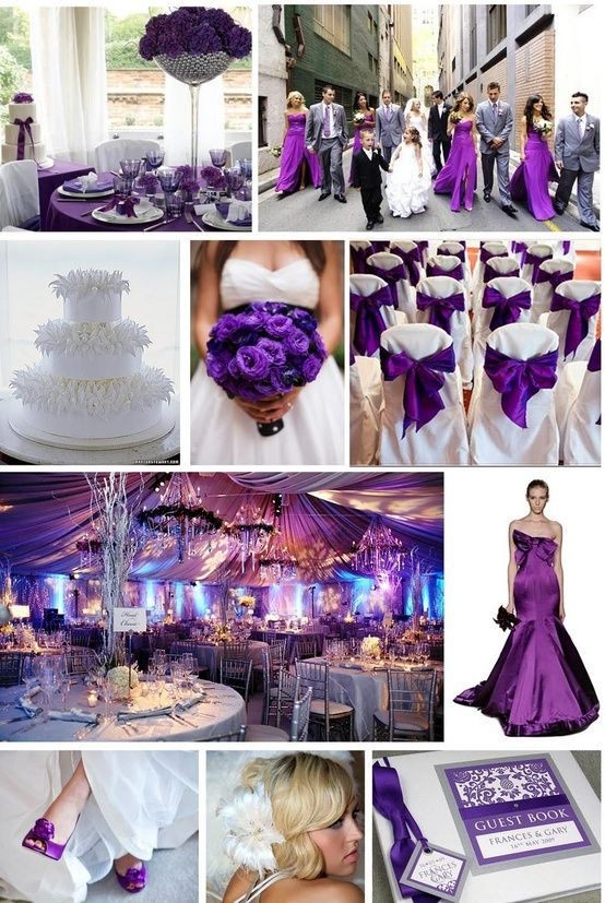 notice the purple the brides maids are wearing isn't the same as the grooms men!