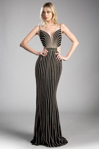 Long Black And Gold Evening Gown With Open Cut Out Sides Aa