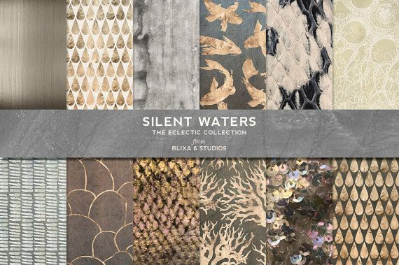 Silent Waters Digital Rose Gold and Watercolor by Blixa6Studios