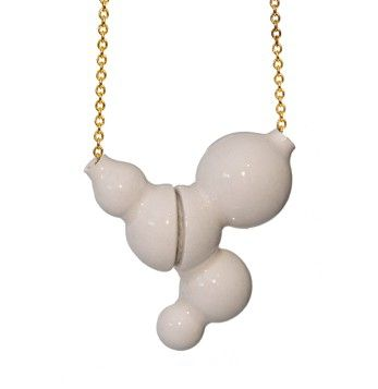 White Spheres Necklace | Short Gold Chain via studiokahn. Click on the image to…