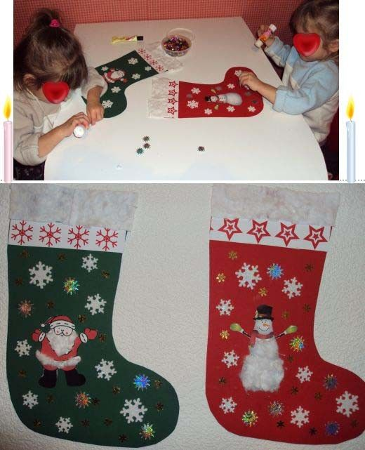Les bottes de Noël faites par les jumelles de 2 ans il faut du papier canson pour la botte et pour la décorer des collages de Noël et du coton gabarit de la botte cliquer : .ici.