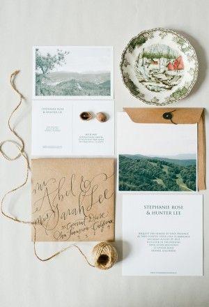 Calligraphed wedding invitations by Hazel Wonderland via Oh So Beautiful Paper.