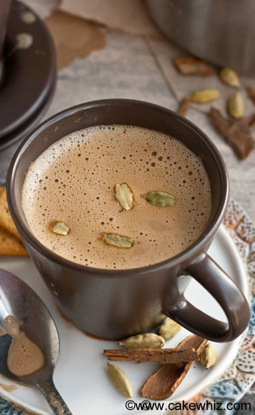 Learn to make authentic MASALA CHAI TEA LATTE at home. It's rich, flavorful, slightly sweet and has the perfect balance of spices | cakewhiz.com | #chai #tea #latte