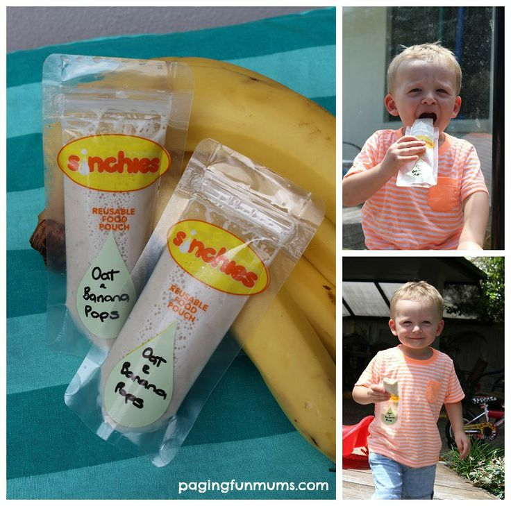 Banana and Oat Smoothie Pops – perfect 'on-the-go' snack for kids! #iceblock #icecream #pops #zupadupa #reusablepouch #banana #oats #smoothie #frozentreats #noadditives #nopreservatives #noaddedsugar