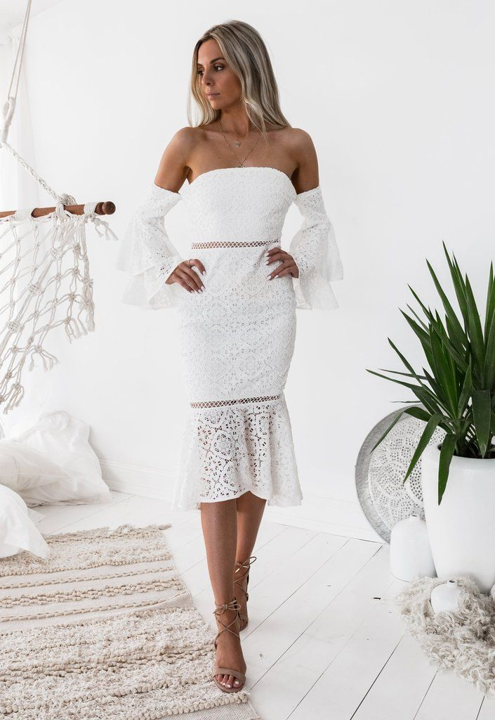 Brianna Dress | An amazing summer white lace dress perfect for your special occasion! Shop Nouveau Riche Boutique #bridesmaiddresses #guestoutfits #semiformaldress
