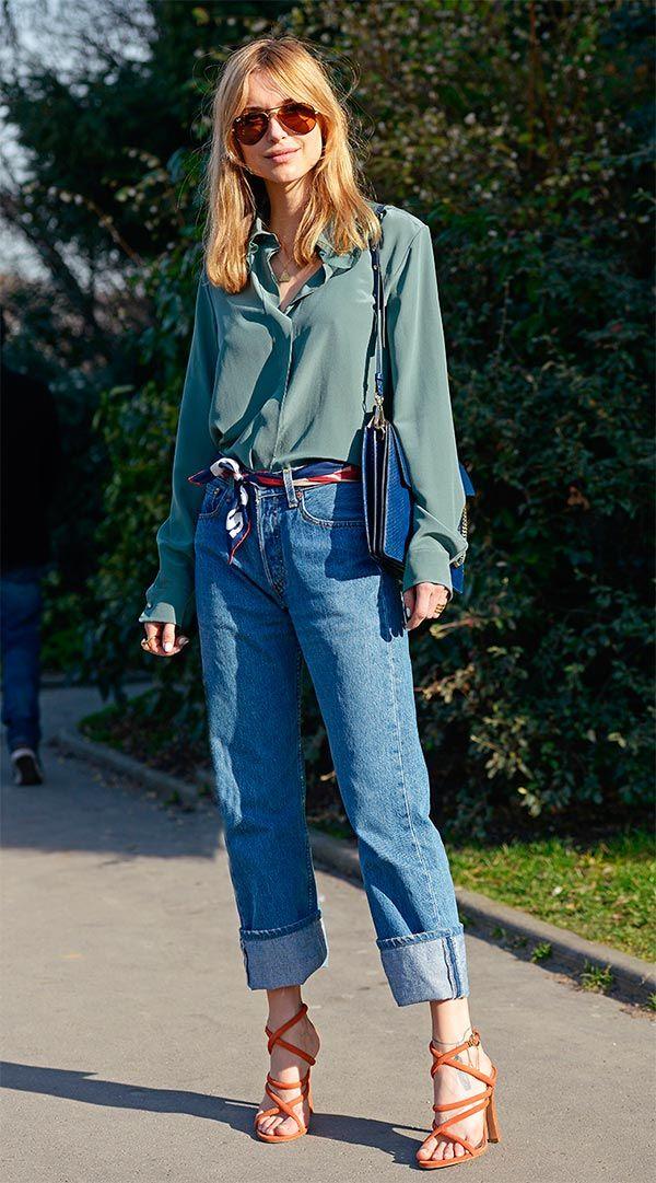 Street style look com calça jeans.