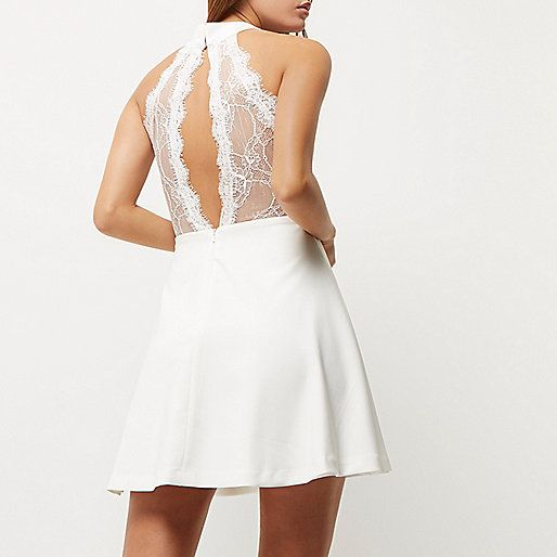 White lace choker neck dress - swing dresses - dresses - women