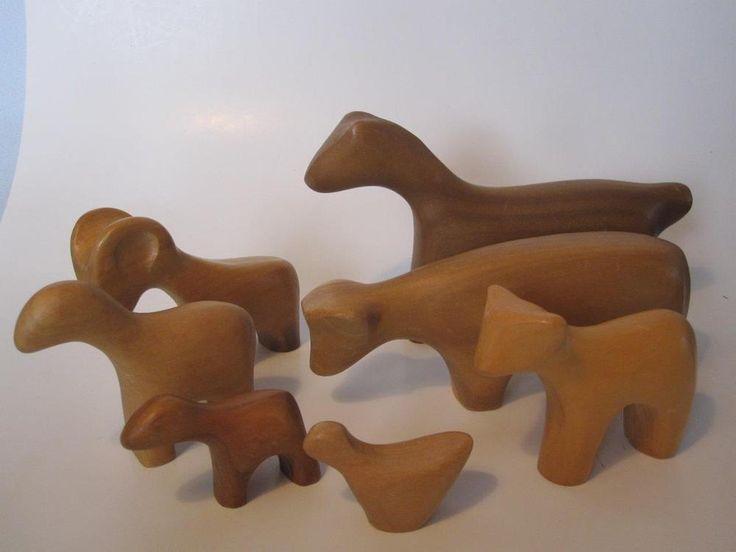 Vintage Antonio Vitali Animal Set Mid Century Wood Creative Playthings Figures
