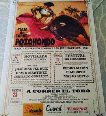 DOS FESTEJOS TAURINOS EN POZOHONDO POR SAN JUAN   David Martínez José Manuel Ruiz Noticias Toros Pozohondo. Fiestas Santi González