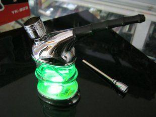 envío gratis de fumar pipa de agua con led verde de tabaco de la tubería de la promoción