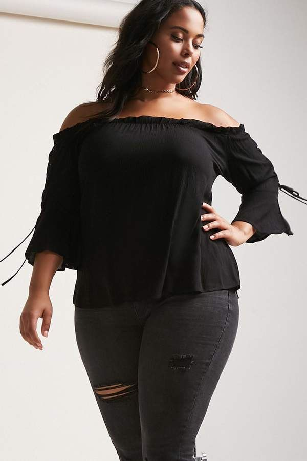 6850a36e0bb8e3 Forever 21 Plus Size Lace-Up Off-the-Shoulder Top