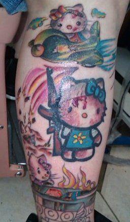 tatouages hello kitty guerre   15 tatouages Hello Kitty insolites   vendredi 13 The Walking Dead tatouage tatoo squelette spoke photo image ...