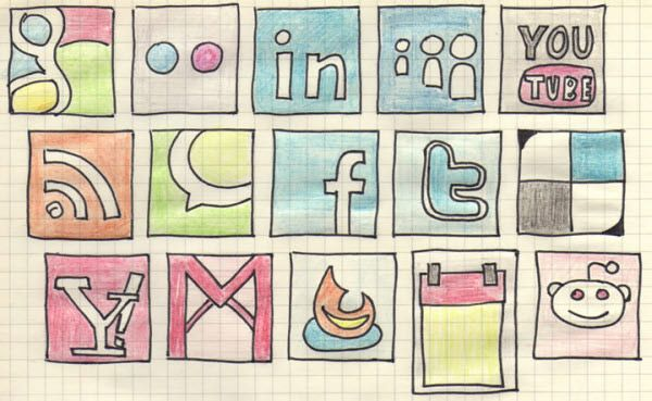 Have a look at hand-drawn icon set of social media channels..