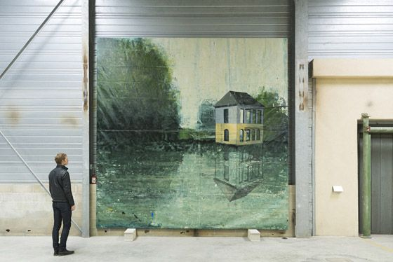 Alejandro Campins, Falsa Belleza, 2015, enamel on canvas, 450 x 450 cm. Galleria Continua Les Moulins, 2015. Photo by Oak Taylor-Smith